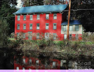 Photograph - The Red House Along The Autumn Canal by Tami Quigley