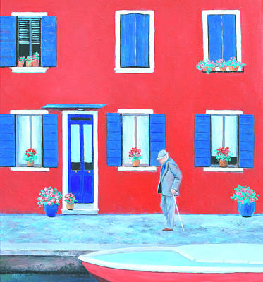 Painting - The Red House On The Island Of Burano by Jan Matson