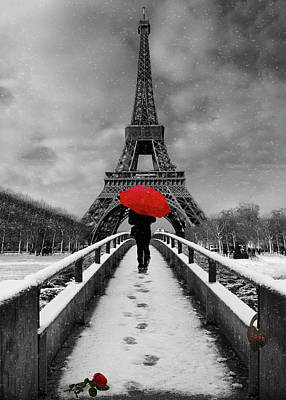 Photograph - The Red Umbrella At The Tour Eiffel by Debra and Dave Vanderlaan