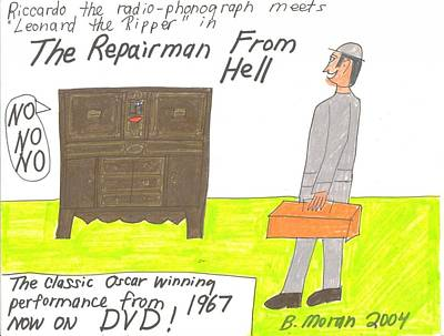 Drawing - The Repairman From Hell by Barb Moran