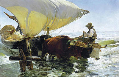 Painting - The Return From Fishing Of 1905 by Juaquin Sorolla