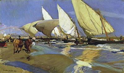 Painting - The Return From Fishing Of 1908 by Juaquin Sorolla