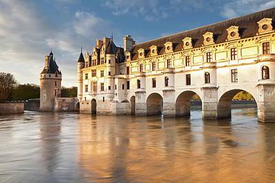 The River Cher And Chateau Chenonceau Art Print