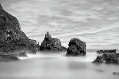 Photograph - The Rocky Coast Of St Cyrus - Scotland - Black And White Seascape by Jason Politte