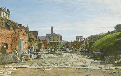 Painting - The Roman Forum With The Arch Of Titus And The Coliseum by Josef Theodor Hansen