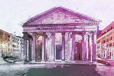 Painting - The Roman Pantheon - 07 by Andrea Mazzocchetti