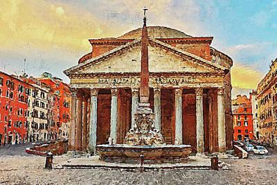 Painting - The Roman Pantheon - 08 by Andrea Mazzocchetti