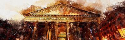 Painting - The Roman Pantheon - 09 by Andrea Mazzocchetti