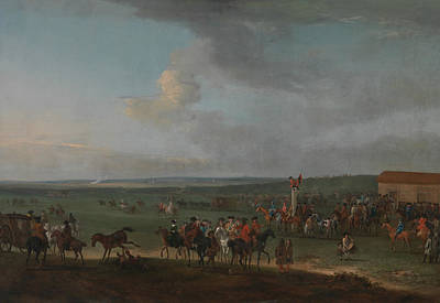 Painting - The Round Course At Newmarket, Cambridgeshire, Preparing For The King's Plate by Peter Tillemans