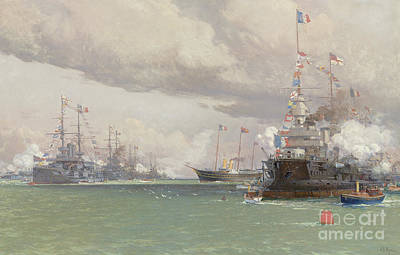 Painting - The Royal Yacht Victoria And Albert IIi Reviewing The Anglo French Fleet In Cowes Road, 1905 by Eduardo de Martino