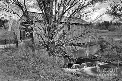 Photograph - The Scribner Covered Bridge Black And White by Adam Jewell