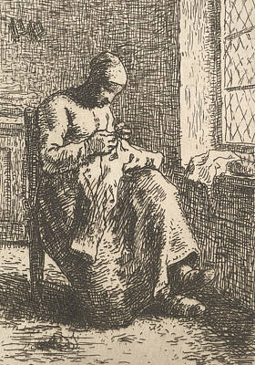 Relief - The Seamstress by Jean-Francois Millet