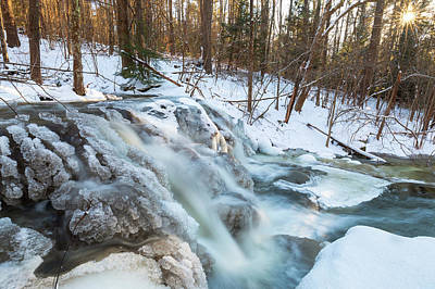 Photograph - The Secret Waterfall - Blue - Frozen by Brian Hale