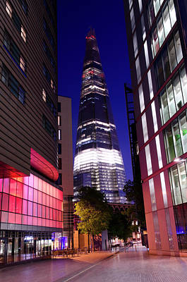 Photograph - The Shard Skyscraper At Night, Central by Dynasoar
