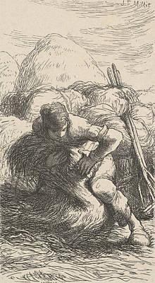 Relief - The Sheaf Binder by Jean-Francois Millet