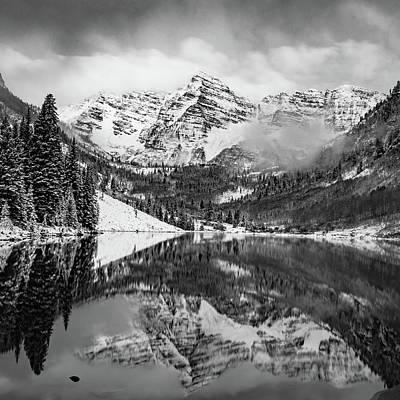 Photograph - The Smoky Maroon Bells - Aspen Colorado Monochrome by Gregory Ballos