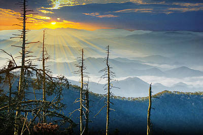 Photograph - The Smoky Mountains  At Sunset by Randall Nyhof