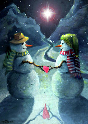 Painting - The Snowmen Of Love And Light by Nancy Griswold