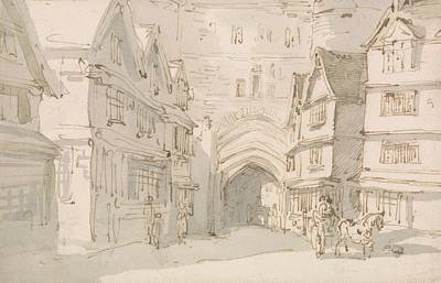 Drawing - The South Gate, Exeter by Thomas Rowlandson
