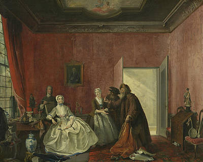 Painting - The Spendthrift Or The Wasteful Woman by Cornelis Troost