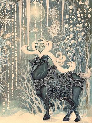 Winter Solstice Wall Art - Painting - The Stag King by Janine Riley
