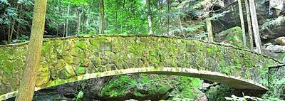 Photograph - The Stone Bridge In Old Mans Cave Hocking Hills Ohio Panorama by Lisa Wooten