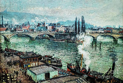 Painting - The Stone Bridge In Rouen by Camille Pissarro