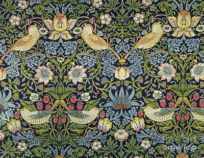 Tapestry - Textile - The Strawberry Thief Textile Designed By William Morris  by William Morris