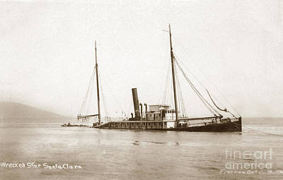 Photograph - The Submerged North Pacific Steamship Company's Sunta Clara 1910 by California Views Archives Mr Pat Hathaway Archives