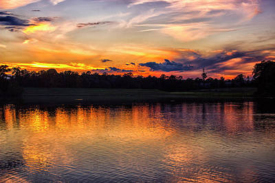 Photograph - The Sunset Reflection On The Lake by Thomas Vasas