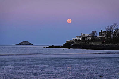 Photograph - The Super Worm Moon 2019 Over Egg Rock In Nahant Ma Beach by Toby McGuire