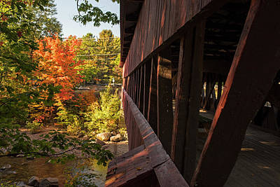 Photograph - The Swift River Covered Bridge At Autumn Conway Nh New Hampshire by Toby McGuire