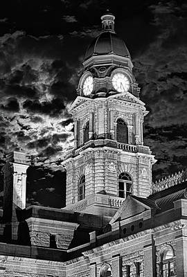 Photograph - The Tarrant County Courthouse Black And White by JC Findley