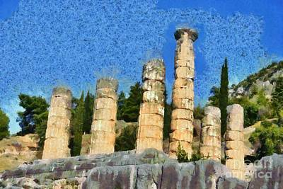 Painting - The Temple Of Apollo In Delphi I by George Atsametakis