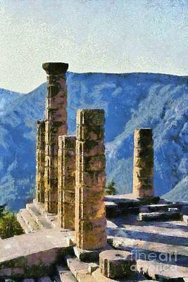 Painting - The Temple Of Apollo In Delphi IIi by George Atsametakis