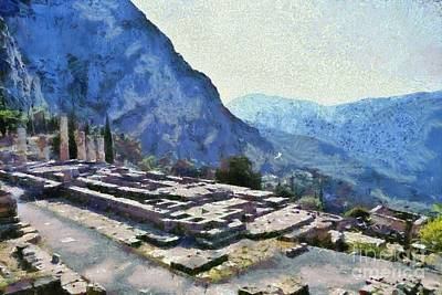 Painting - The Temple Of Apollo In Delphi Iv by George Atsametakis