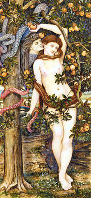 Painting - The Temptation Of Eve John Roddam Spencer Stanhope by John Roddam Spencer Stanhope
