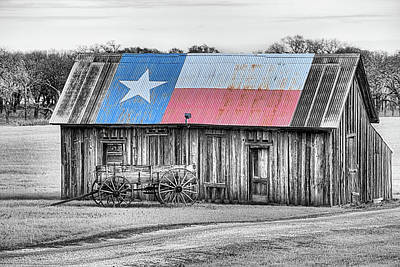 Photograph - The Texas Flag Barn In Black And White by JC Findley