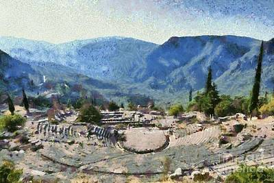 Painting - The Theater In Delphi I by George Atsametakis