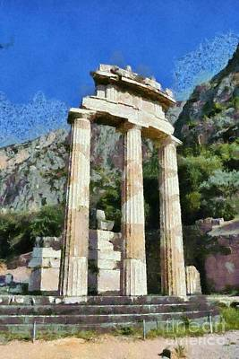 Painting - The Tholos At Athena Pronaia Temple In Delphi Ix by George Atsametakis