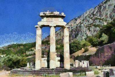 Painting - The Tholos At Athena Pronaia Temple In Delphi Vi by George Atsametakis