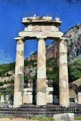 Painting - The Tholos At Athena Pronaia Temple In Delphi Vii by George Atsametakis