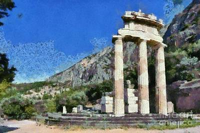 Painting - The Tholos At Athena Pronaia Temple In Delphi Viii by George Atsametakis