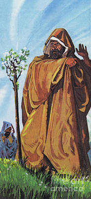 Painting - The Thorn Staff, Which Joseph Had Brought From Palestine, Miraculously Took Root And Blossomed by Richard Hook