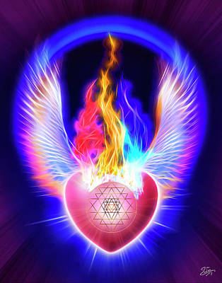 Digital Art - The Threefold Flame Of Power Wisdom And Love by Endre Balogh