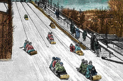 Drawing - The Toboggan Slide by Canadian School