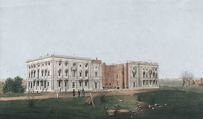 Painting - The United States Capitol After The Burning Of Washington, D.c. In The War Of 1812. Watercolor And I by Celestial Images
