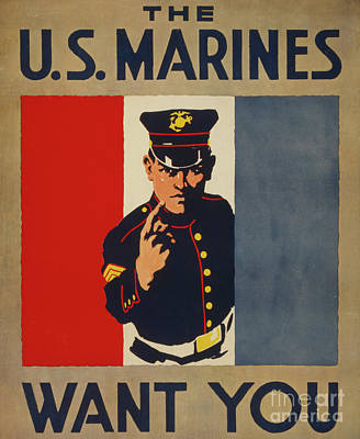 Painting - The Us Marines Want You, 1917  Color Lithograph by American School