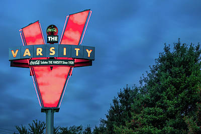 Royalty-Free and Rights-Managed Images - The Varsity Neon at Dusk - Atlanta Georgia by Gregory Ballos