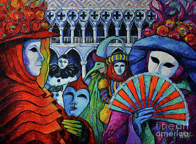 The Carnival Of Venice - Textural Impasto Palette Knife Oil Painting Mona Edulesco Original